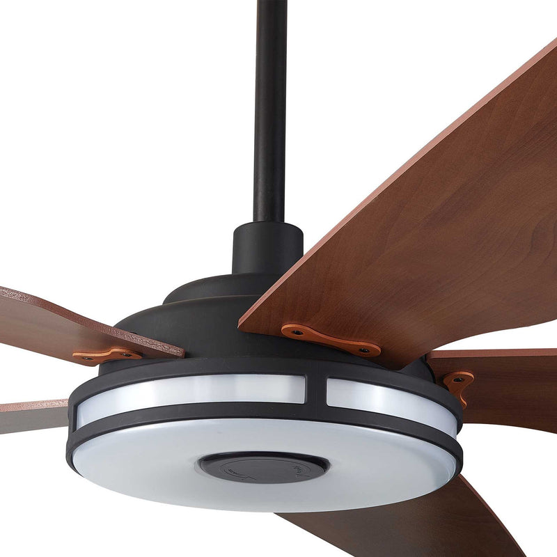 Carro Explorer 52'' 5-Blade Smart Ceiling Fan with LED Light Kit & Remote - Black Case and Wood Grain Fan Blades