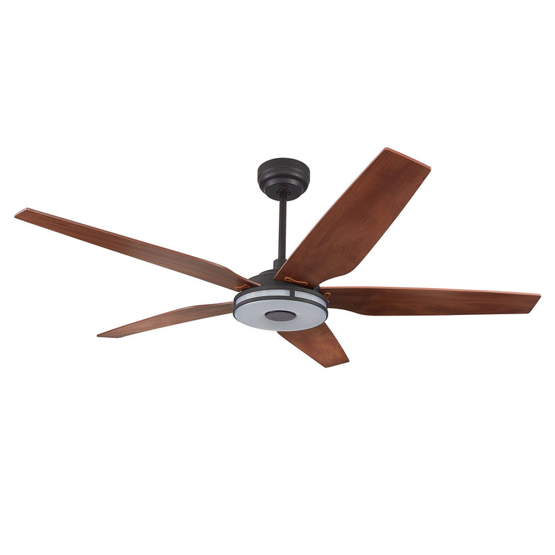 "Explorer 52"" 5-Blade Smart Ceiling Fan with LED Light Kit & Remote - Black case with Wood Grain fan blade"