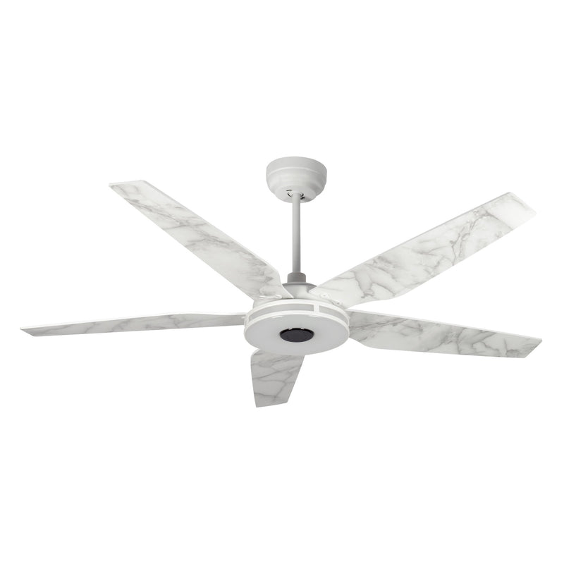 "Explorer 56"" 5-Blade Smart Ceiling Fan with LED Light Kit & Remote - White/Marble Pattern"