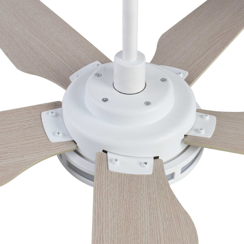 "Explorer 56"" 5-Blade Smart Ceiling Fan with LED Light Kit & Remote - White/Light Wood"