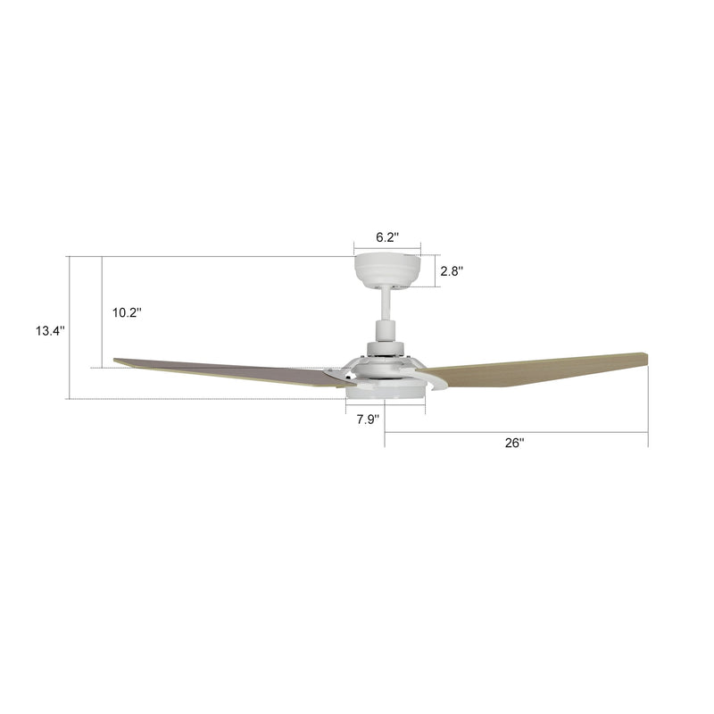 "Trailblazer 52"" 3-Blade Smart Ceiling Fan with LED Light Kit & Remote-White/Wooden Pattern"