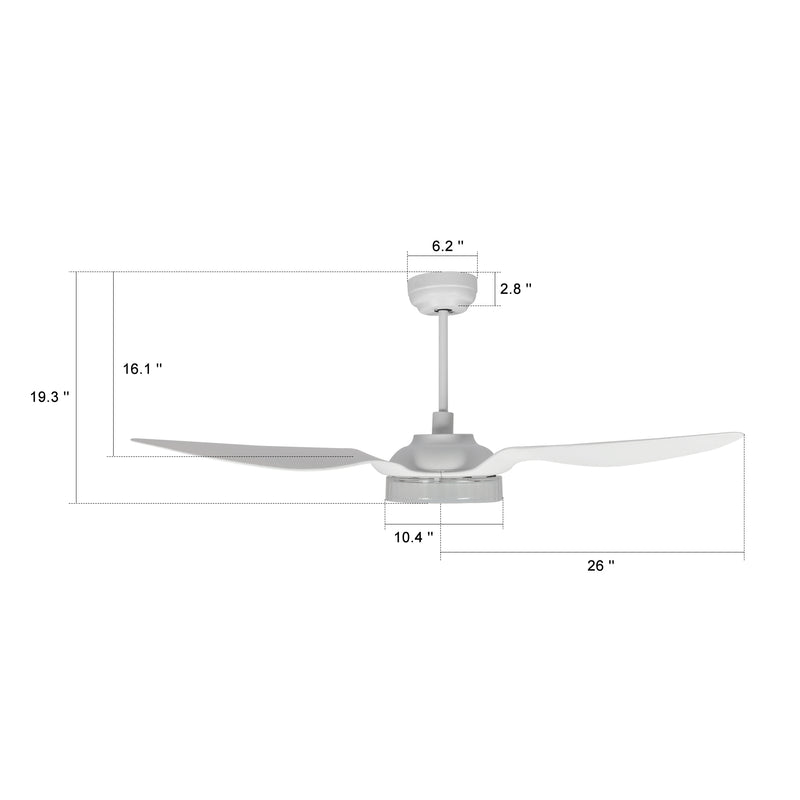 Icebreaker Outdoor 52'' Smart Ceiling Fan with LED Light Kit-White case with White fan blades