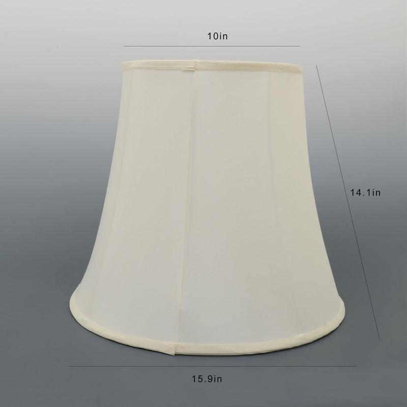 "Carro Home Creme White Bell Lamp Shade 10""x16""x14""(Spider Fitting)-Set Of 2"