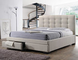 Bondi Bed Suite in Beige with Underbed Drawers