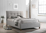 Laver Fabric Bed in Light Grey.