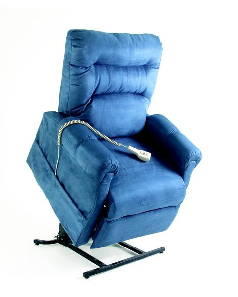 C5 Electric Lift Chair/Recliner by Pride Mobility in Blue Fabric.