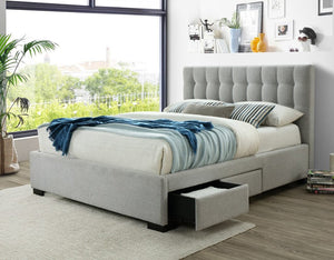 Cleo Upholstered Fabric Bed with Underbed Drawers in Light Grey,