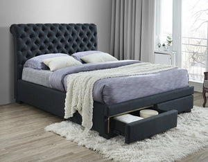 Crystal Upholstered Fabric Bed with Underbed Drawers