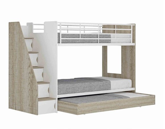 Ashton Trio Bunk Bed with Trundle and Shelves