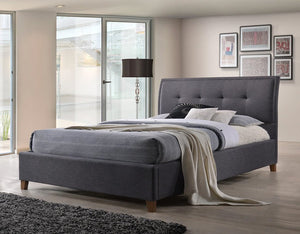 Laver Fabric Bed in Dark Grey.