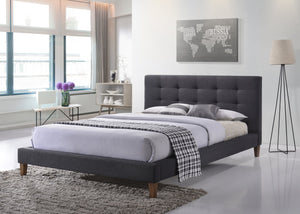 New York Dark Grey Fabric Bed.
