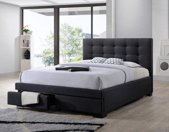 Bondi Bed Suite in Charcoal with Underbed Drawers