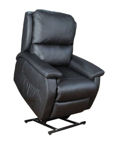 Brooklyn Dual Motor Lift Chair/Recliner in a dark leather.