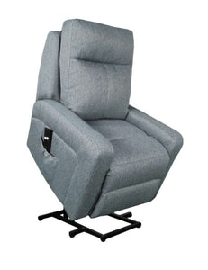 Charlotte Single-Motor Lift Chair/Recliner in Light Grey Fabric.