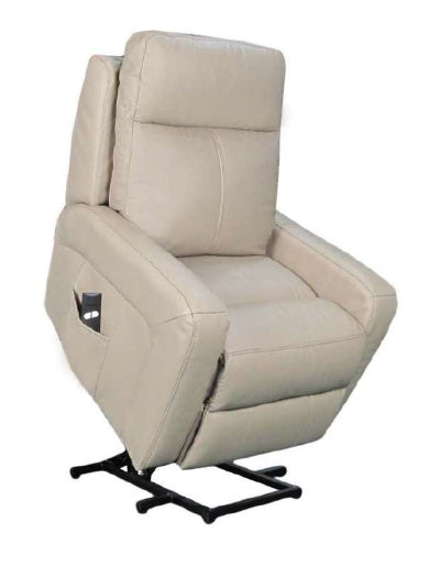 Calgary - Single Motor Lift Chair/Recliner in light beige Leather.