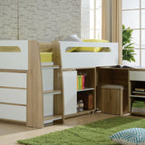 Charlie Loft Bunk with Desk, Lowboy and Cupboard