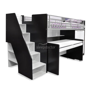 Evan Loft Bed with Stairs, Desk and Shelves