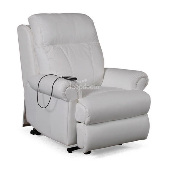 Galway Leather Lift Chair/Recliner in Light Grey.