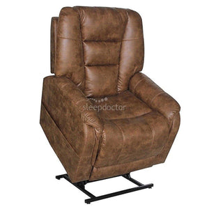 Mercer Dual Motor Lift Chair with Headrest and Lumbar Adjust in Brown Leather.