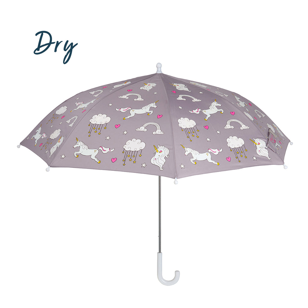 Kids colour changing umbrella. This kids unicorn umbrella design changes colour in the rain. Girls umbrella, boys umbrella. The kids umbrella image shows the dry effect before the colour change.