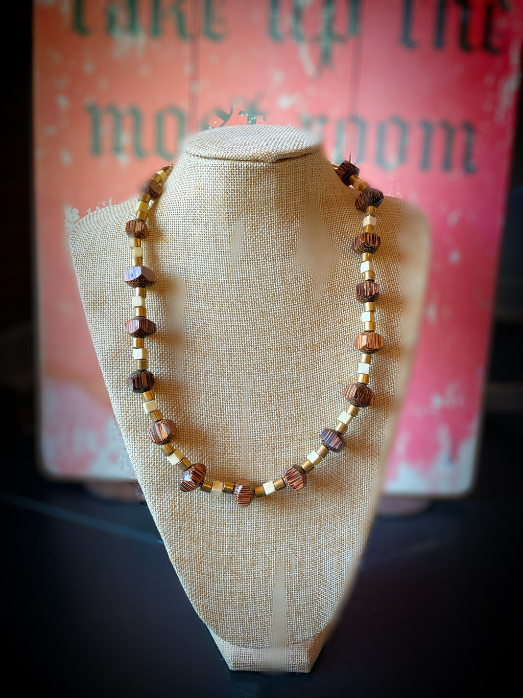 Wood, Gold and Cream Necklace