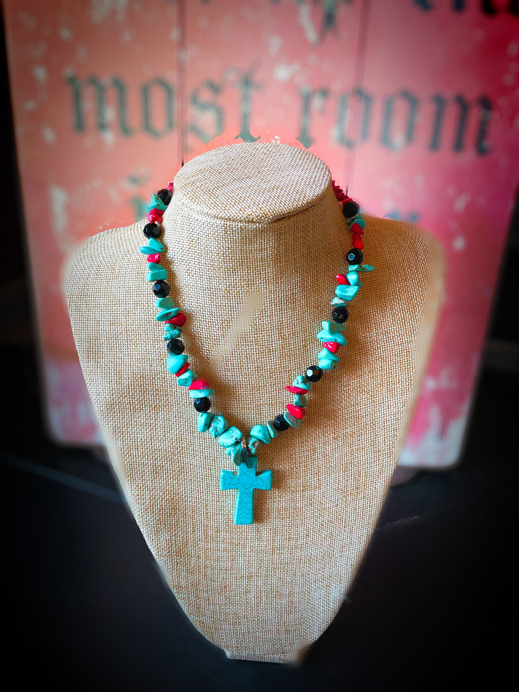 Turquoise, Red and Black Necklace