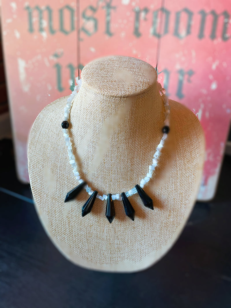 White and Black Crystal Necklace