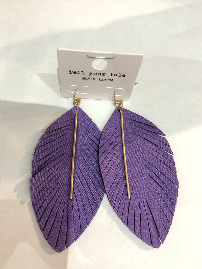 Leather Feather cut Earrings with gold Bar
