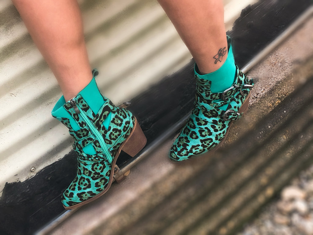 Rustic Turquoise Leopard Boots