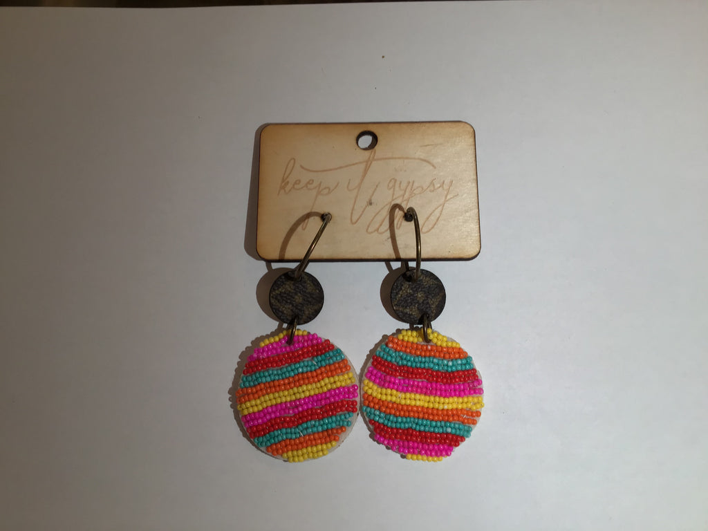 Multi-color Beaded Upcycled LV Earrings