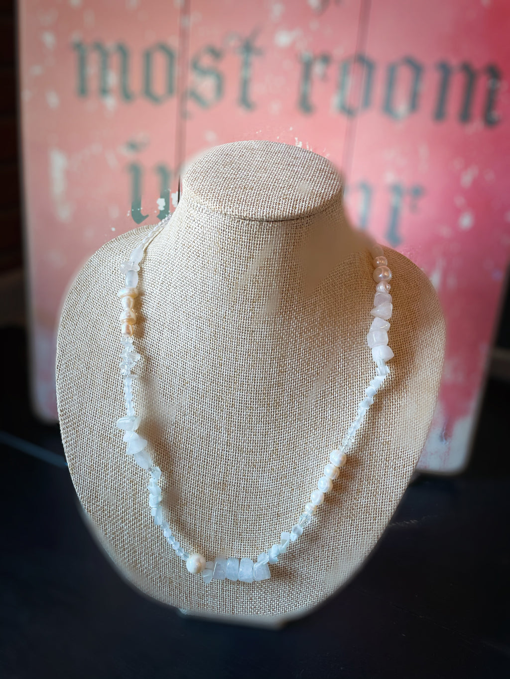 White Stone Bead Necklace