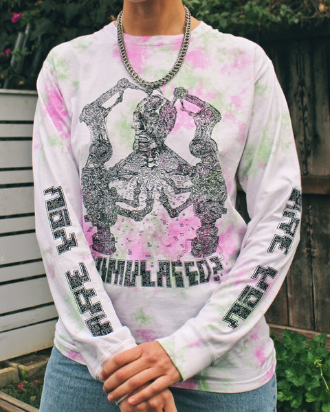 """Are You Simulated?"" Long-Sleeve Color Tie-Dye Tee"
