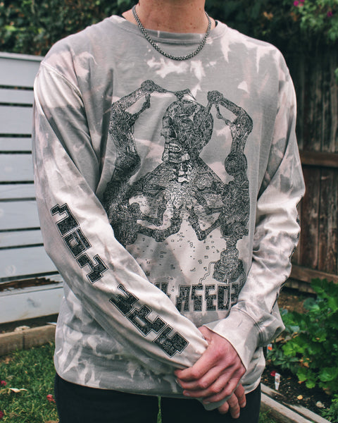 """Are You Simulated?"" Long-Sleeve Bleach Tie-Dye Tee"