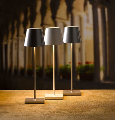 Shaded  LED Lamp in Brown, White or Grey