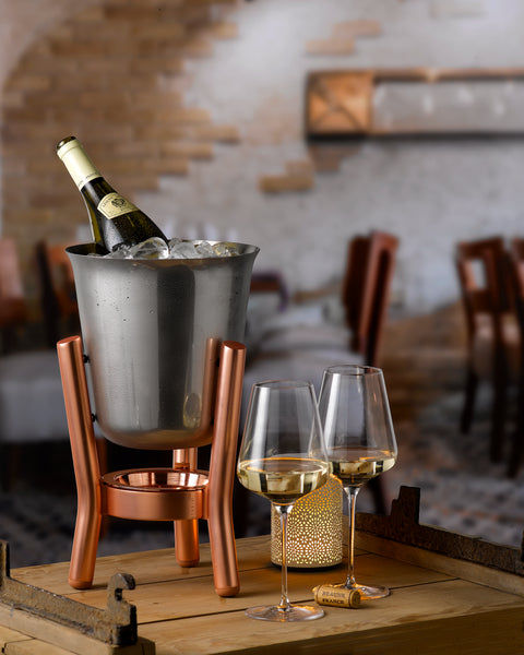 Stainless Steel Mirror Finish Champagne Cooler with Copper Stand - Studio1765