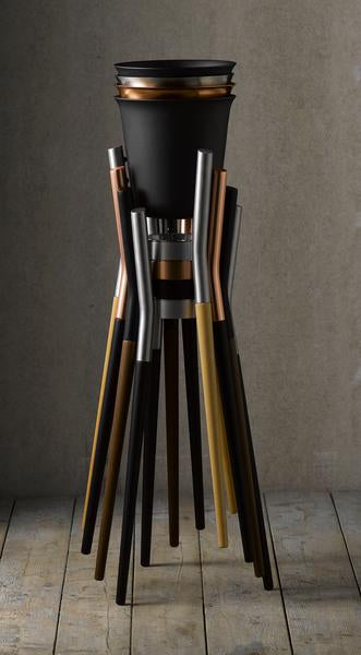 PVD Copper coated Stainless Steel Champagne Cooler with Matt Black Stand