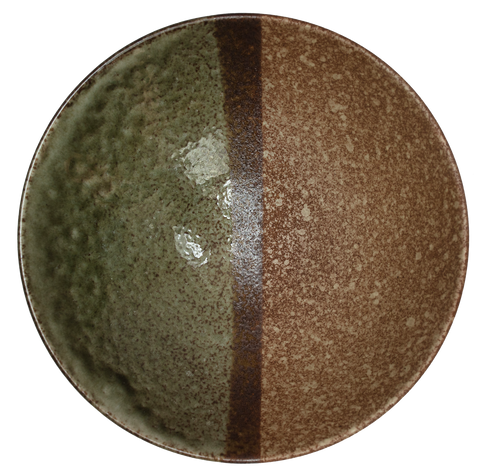 Coupe Bowl Ø24 x H:7.5cm - Forest Green / Light Brown