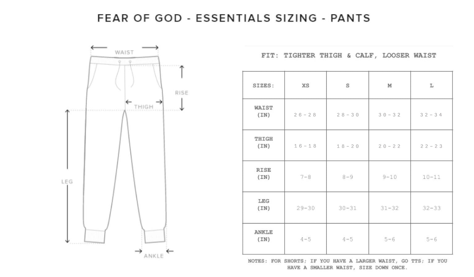Fear of God Sweatpants Size Chart