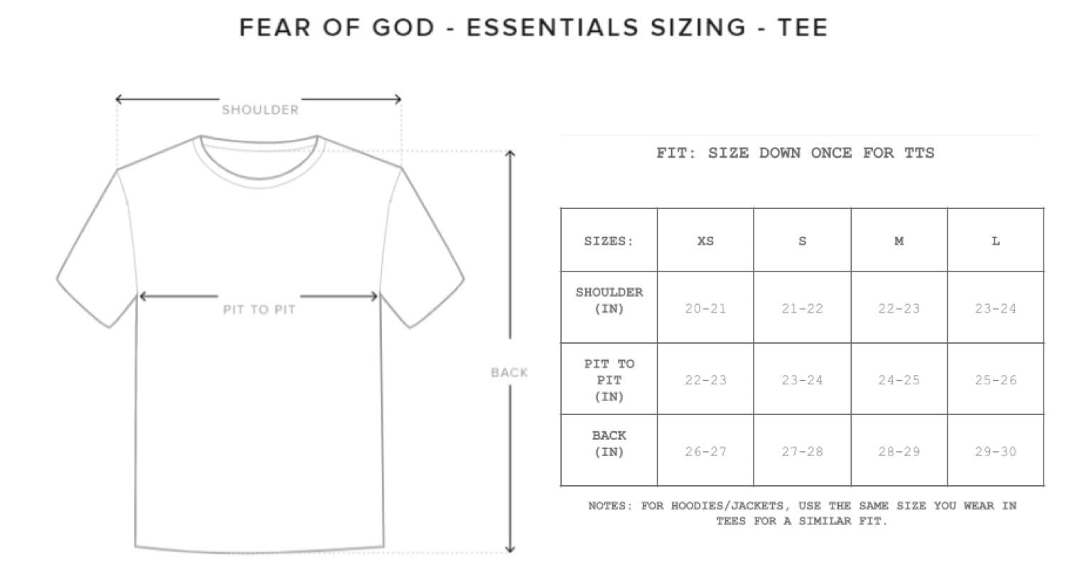 Fear of God Tees & Crewneck Size Chart