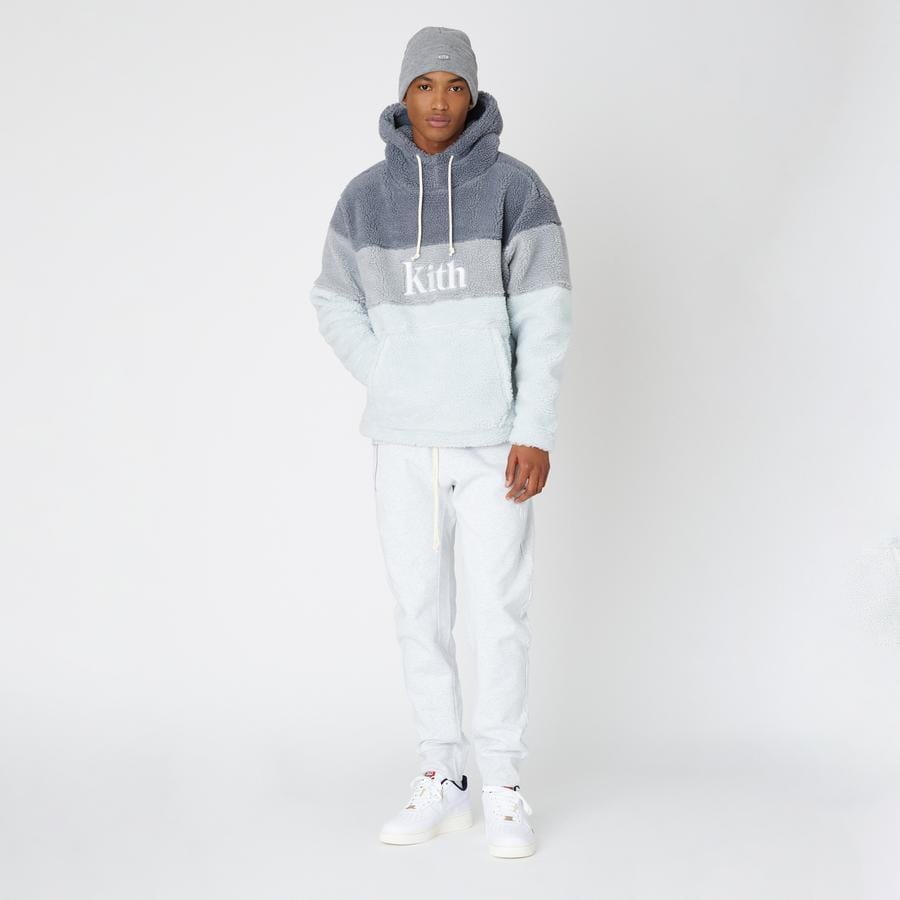 Kith Sherpa Double Pocket Hoodie Pearl Blue - Kick Game
