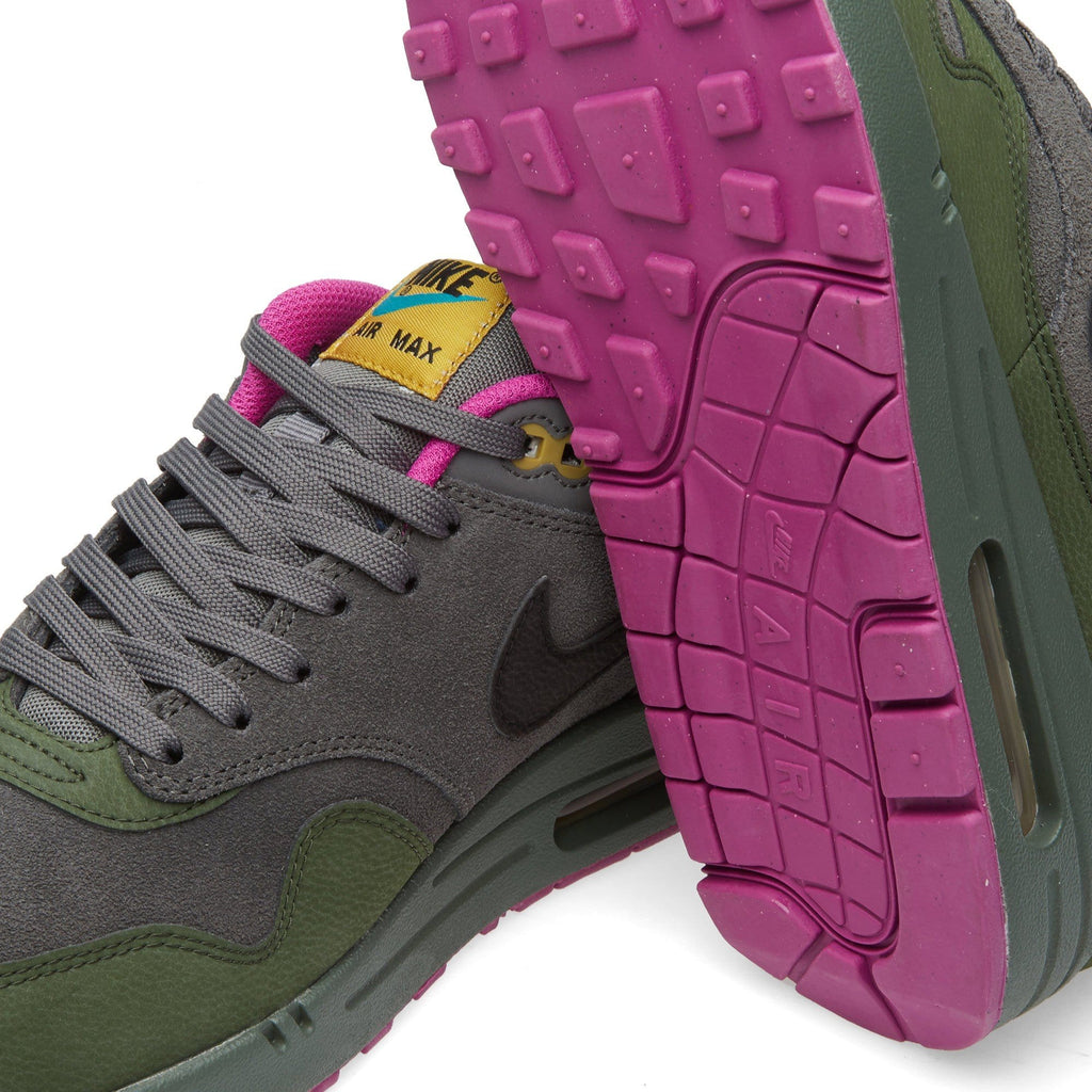 NIKE AIR MAX 1 LEATHER Dark Pewter & Carbon Green - Kick Game