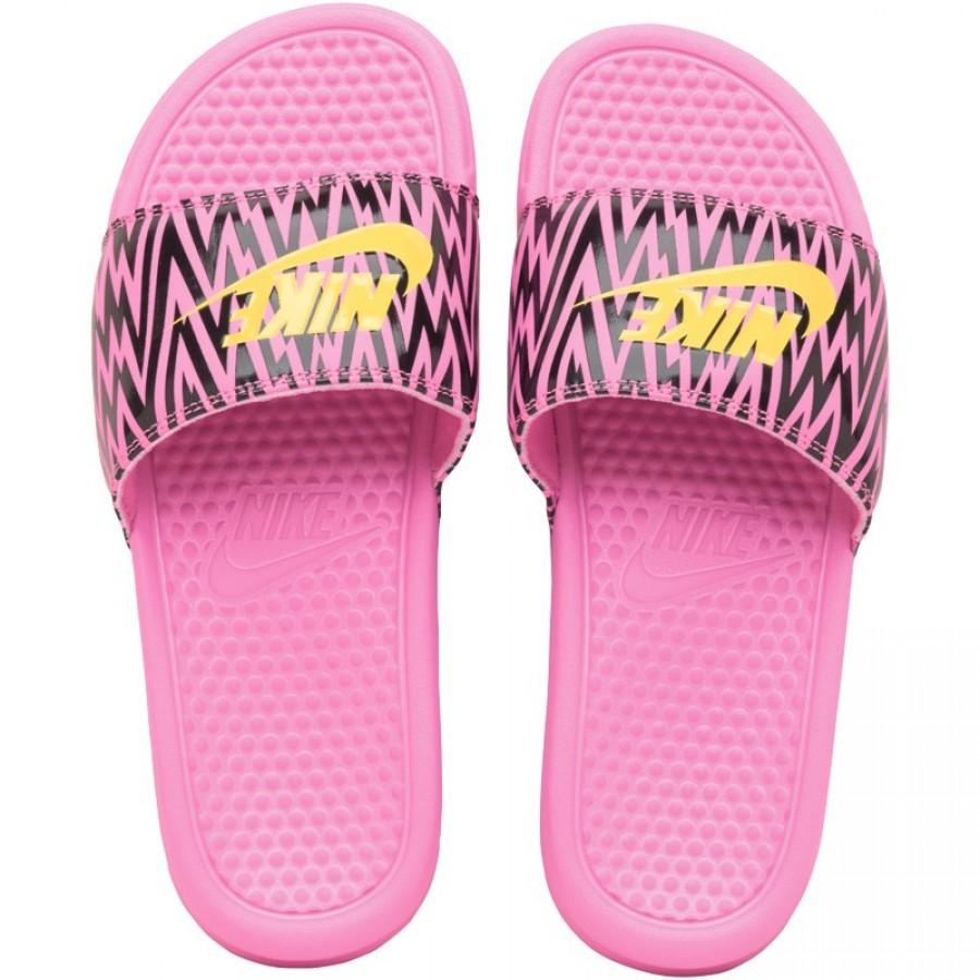 Nike Womens Benassi JDI Slide Sandals Violet-Citron-Black - Kick Game