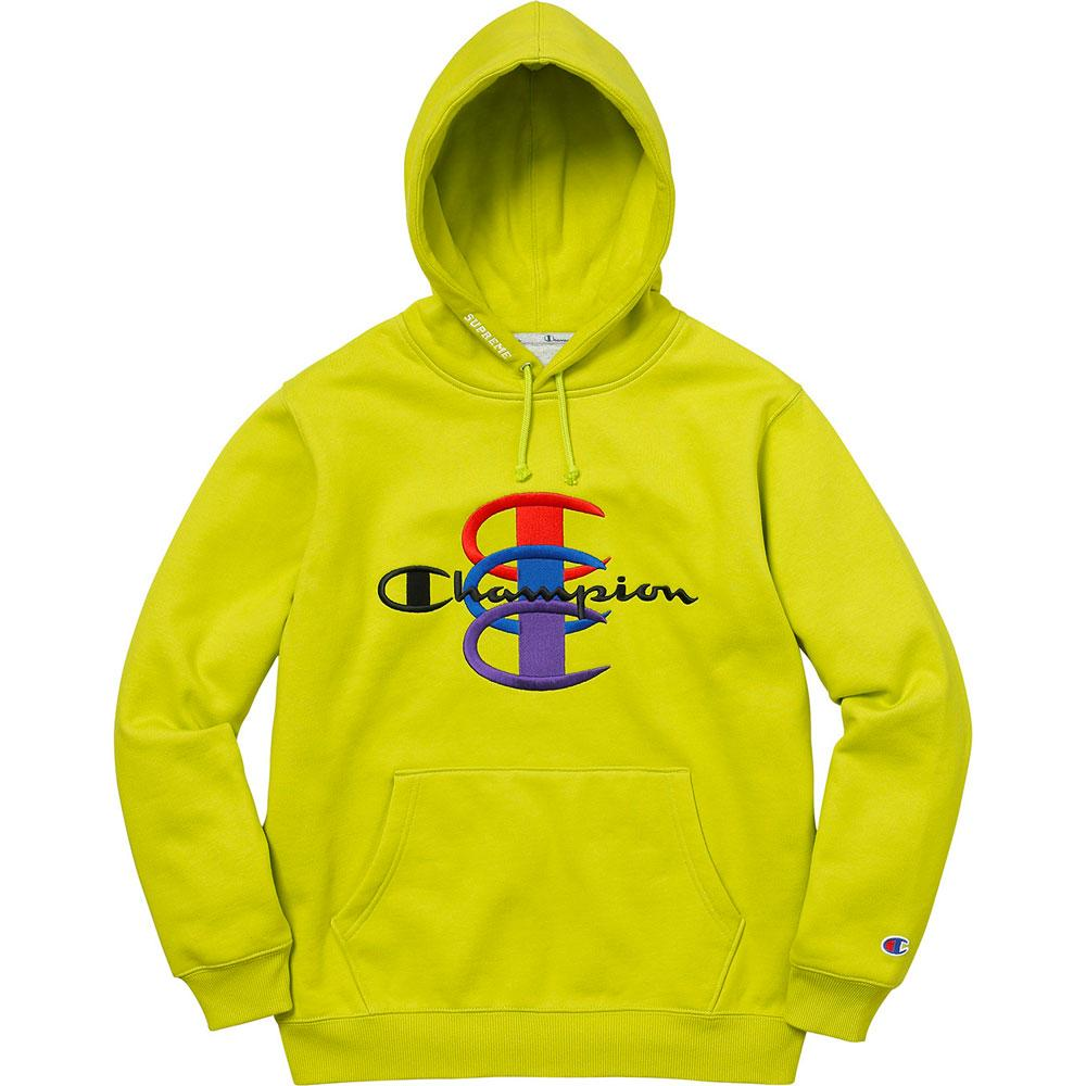 Supreme Champion Stacked C Hooded Sweatshirt Bright Green - Kick Game