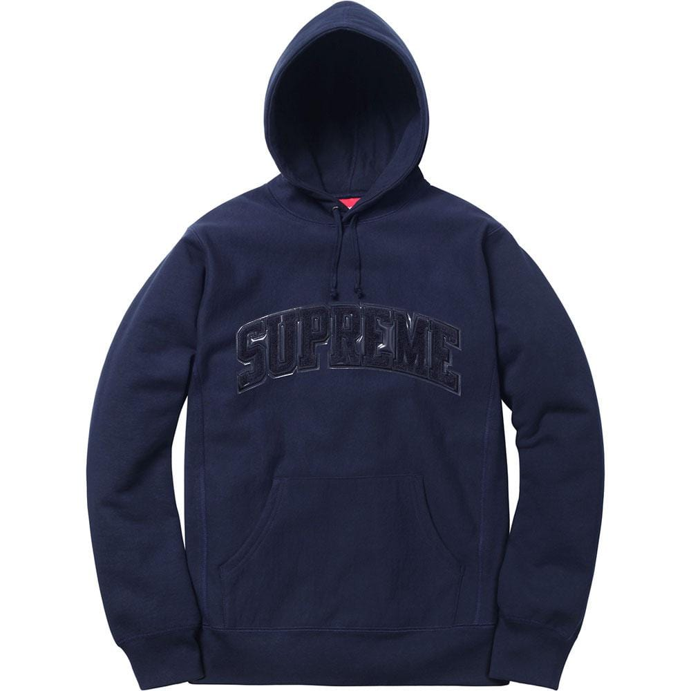 Supreme Patent-Chenille Arc Logo Hooded Sweatshirt Navy