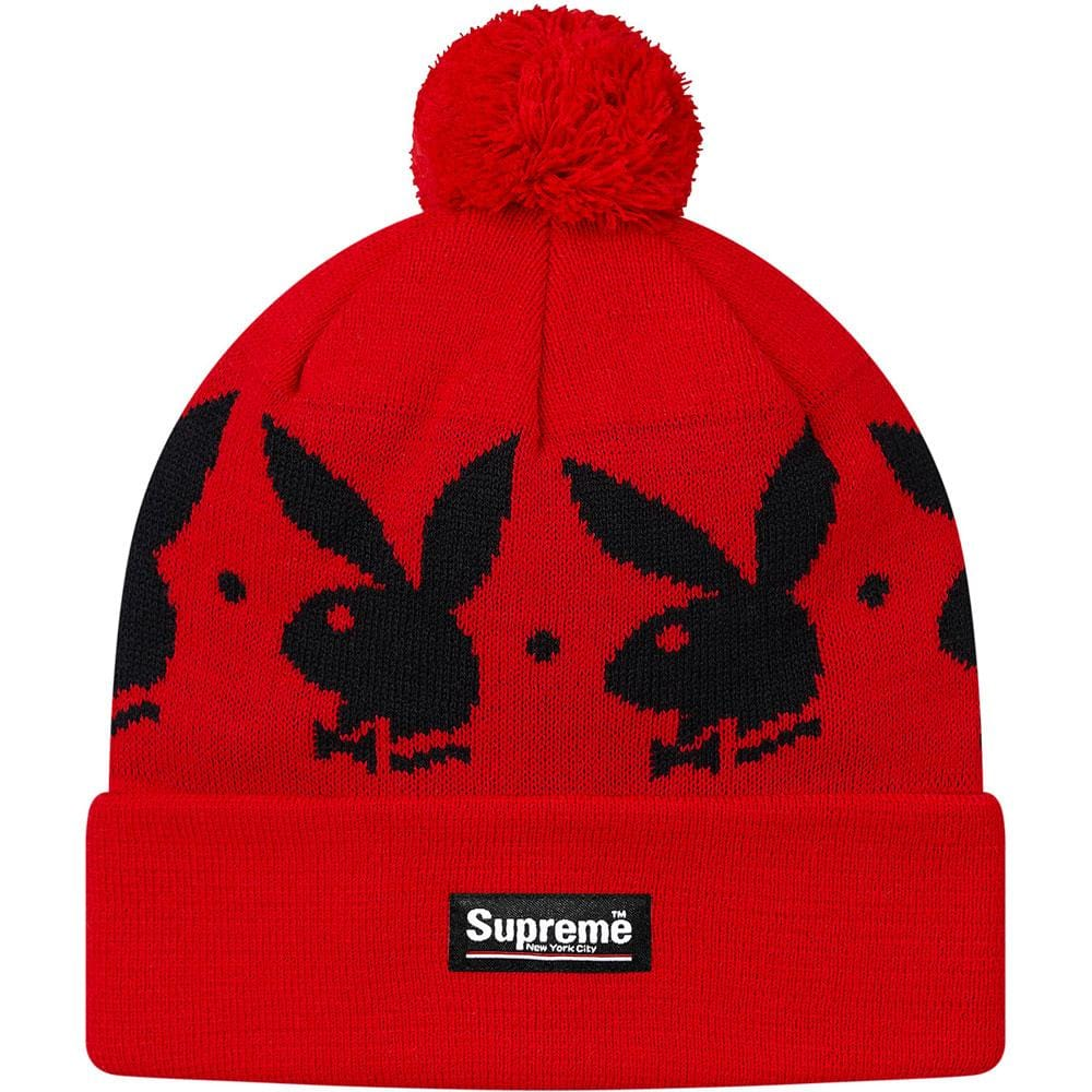 Supreme Playboy Jacquard Beanie (FW17) - Red - Kick Game
