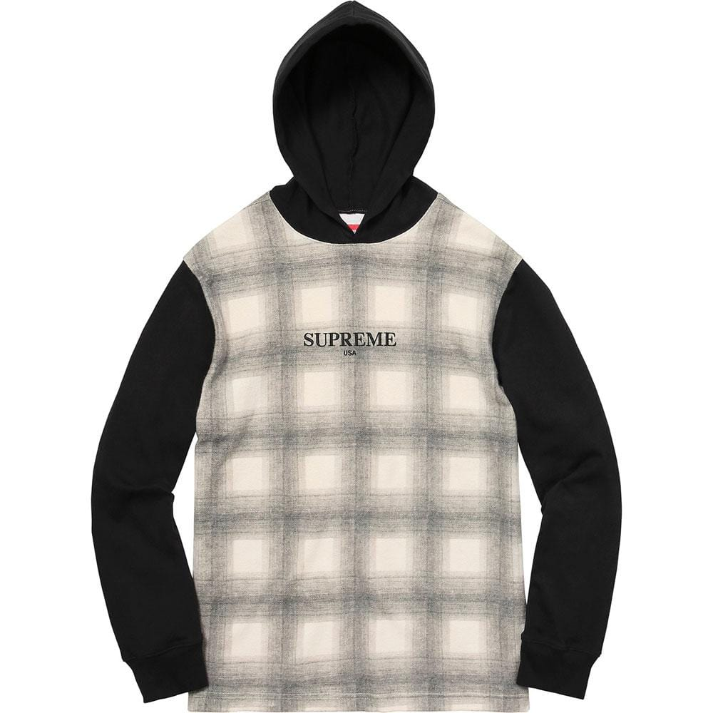 Supreme Shadow Plaid Hooded L-S Top Black