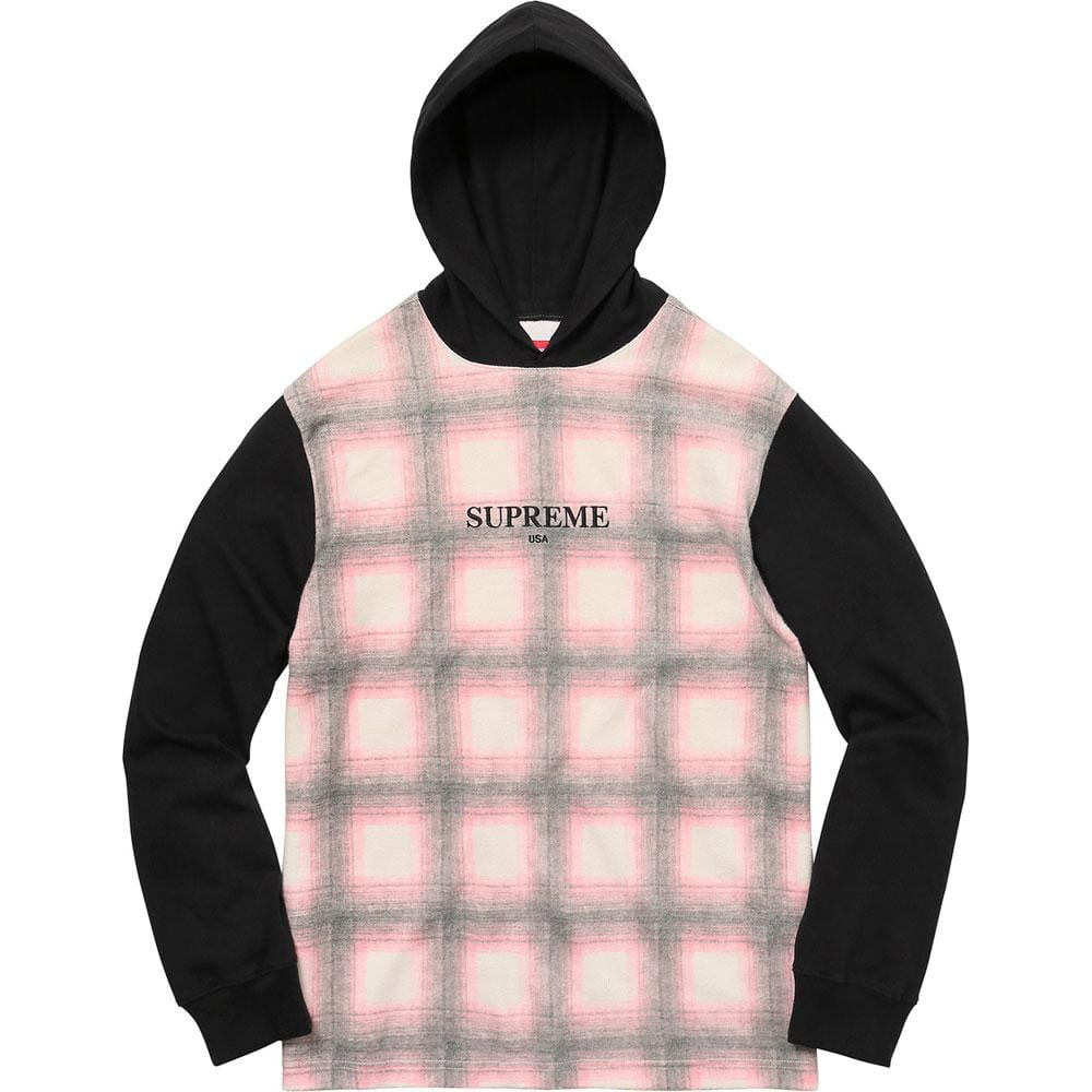 Supreme Shadow Plaid Hooded L-S Top Pink - Kick Game