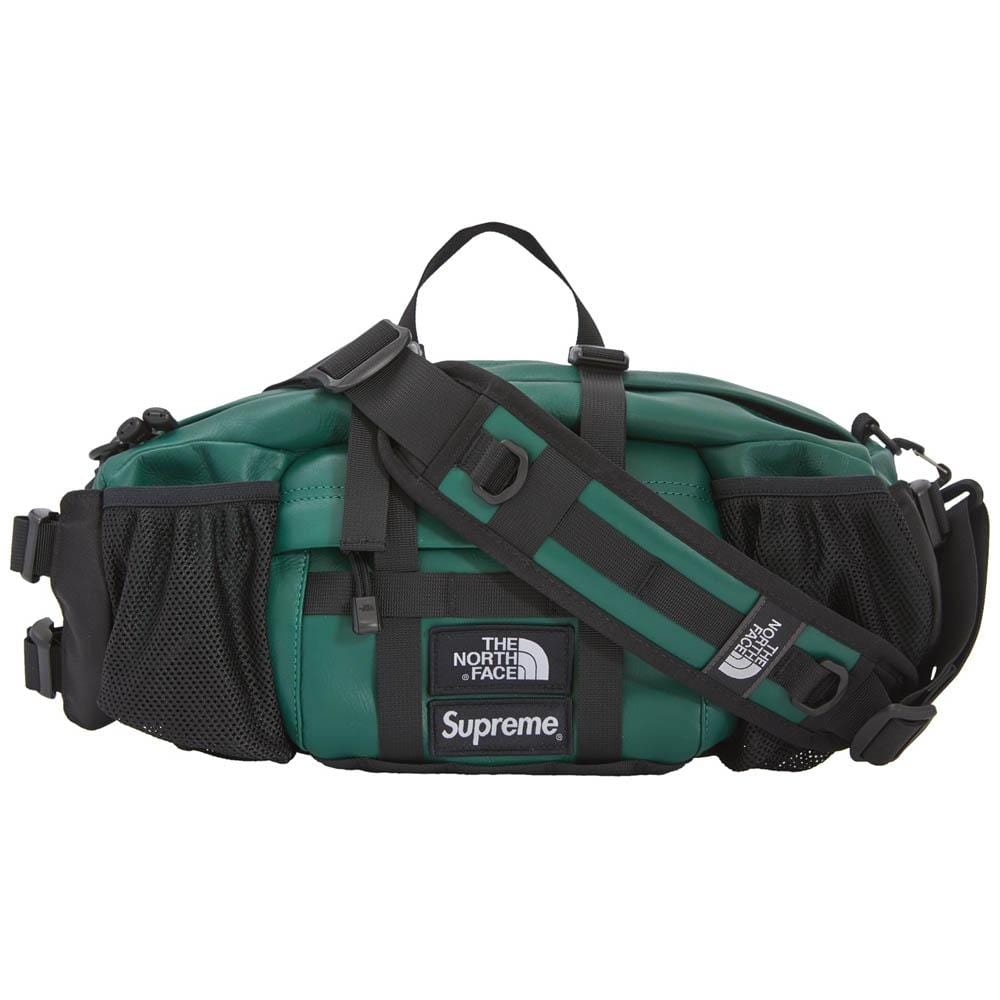 Supreme The North Face Leather Mountain Waist Bag Dark Green - Kick Game