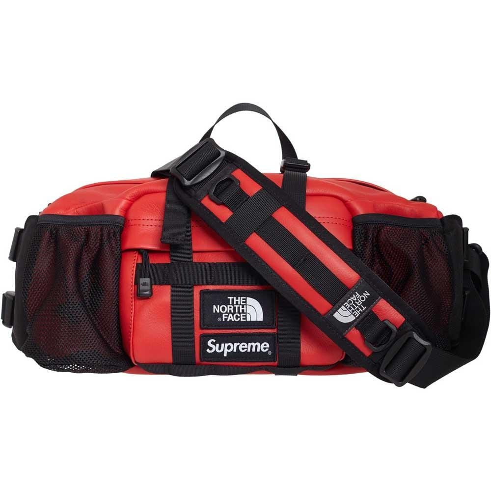 Supreme The North Face Leather Mountain Waist Bag Red - Kick Game