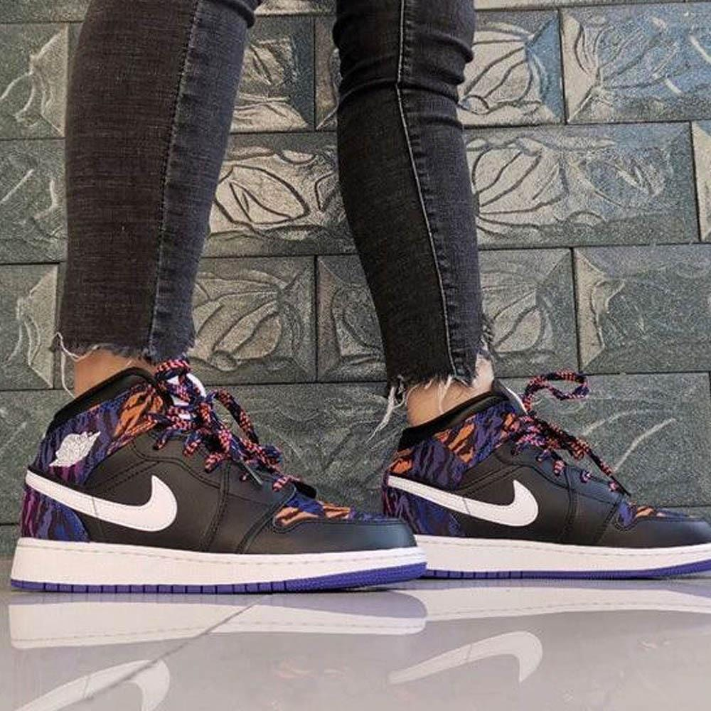 Air Jordan 1 Mid GS 'Tiger Print' - Kick Game